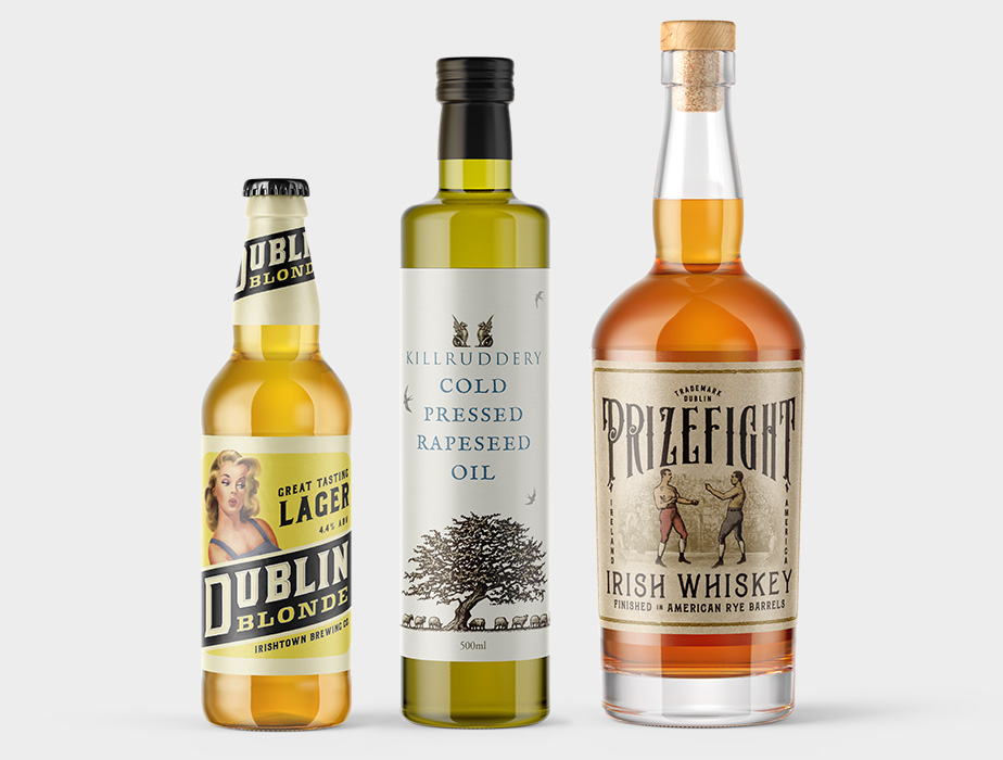 different types of labels for bottles